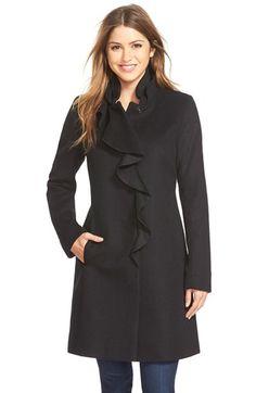 Dkny Ruffle Front Wool Blend Coat in Black | Lyst