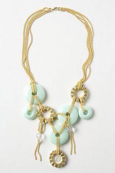 Chained Discs Bib Necklace - Pale Green Handmade Necklace with Gold Chain |  Su Yesili Tasli Altin Zincirli Ozel Tasarim El Yapimi Kolye