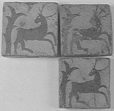 Carreaux de pavement : cerfs PÉRIODE 13e siècle SITE DE PRODUCTION France (origine)