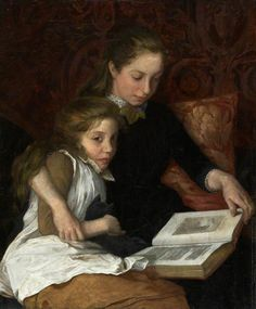 Two Girls Reading (early 20th C). Arthur George Walker (English, 1861-1939). Oil on canvas. Royal Academy of Arts.