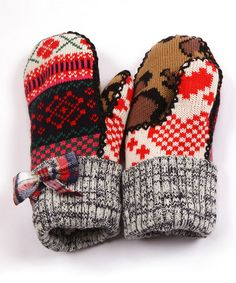 Take a look at this Red Mix It Up Plaid Bow Mittens - Women by MUK LUKS on #zulily today!