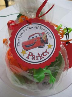 Thank you tags -Disney Cars - Lightning McQueen -Goody Bag Tags -Goodie Bags- Party bag tags - birthday party -set of 12 - cupcake qt. $4.50, via Etsy.