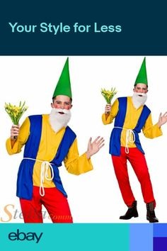 Mens Funny Garden Gnome Costume Dwarf Fairy Tale Fancy Dress Adult Outfit ac75d9885808