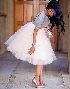NWT Windsor Tulle Full Midi Knee Length Skirt Flowy Champagne/beige Sz L