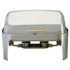 Gold Accented 180 Roll Top Full Size Chafer Description  Create a beautiful buffet setting with a touch of elegance High polish 18/8 stainless steel finish and gold accents make this roll-top chafer your best bet.  Gold Accented 180 Roll Top Full Size Chafer - SKU: CF17009  PRICE: $199.98/ea