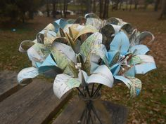 Hey, I found this really awesome Etsy listing at https://www.etsy.com/listing/169506395/vintage-map-paper-lily-bouquet-bridal