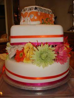 Orange and Pink VW Wedding cake
