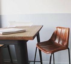 Taburete Hunter Pad y Mesa Steel Wood table Large. Mobiliario de estilo vintage e industrial