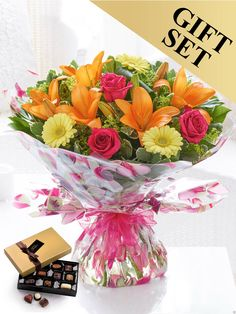 Featuring lemon germini, cerise large-headed roses, orange LA lilies, alchemilla mollis and aspidistra leaf hand-tied with pittosporum and salal, gift-wrapped and trimmed with ribbon and presented in gift packaging. Mothers Day Flowers, Send Flowers, Summer Flowers, Wedding Flowers, Bouquet Flowers, Alchemilla Mollis, Order Flowers Online, Flowers Delivered, Local Florist