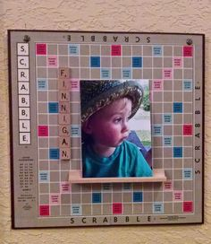 Repurposed Scrabble board to hold children's photo(s); Add names with letter tiles as family grows.