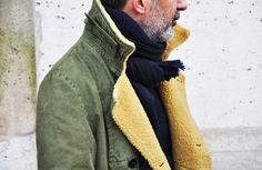 Navy scarf with sheepskin jacket