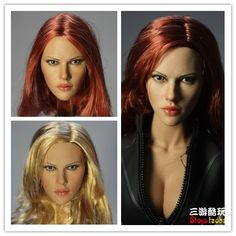 (52.00$)  Watch here - http://aig8x.worlditems.win/all/product.php?id=32328005553 - 1/6 Black Widow Scarlett Johansson headsculpt Three styles of hairstyle12inch doll accessories Body and clothes are not included
