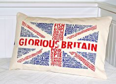 UK Union Jack  decorative pillow cover,  12 x 18 inch  lumbar repurposed bag cushion cover. £13.90, via Etsy.