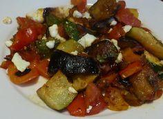 Gegrilde groenten met feta van geiten- en schapenkaas