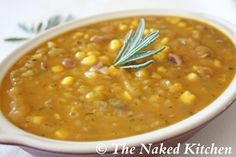 Harmony Stew with squash, corn and cranberry beans
