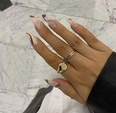 Edgy Nails, Funky Nails, Stylish Nails, Trendy Nails, Swag Nails, Casual Nails, Grunge Nails, Bling Nails, Brown Acrylic Nails