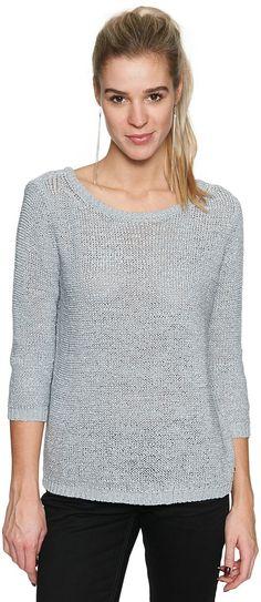 Pullover mit Schleife für Frauen (unifarben, langärmlig mit 3/4-Arm) aus Mouliné mit Strukur, Metall-Badge mit Logo-Prägung, kleiner Rücken-Ausschnitt mit Schleife. Material: 65 % Polyacryl 35 % Polyamid...