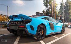 McLaren 675LT painted in Mexico Blue w/ Satin Carbon Fiber     Photo taken by: @gtautoconcepts on Instagram (@neoprufrok on Instagram is the owner of the car)