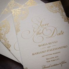 Beautiful gold lace save the dates from our Monarc wedding collection