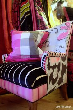 Custom Made Upholstered Vintage Black White And Pink Chair In Designers Guild Fabric