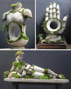 Robert Cannon's living sculptures are full of life and movement thanks to the pieces of living moss he strategically places on the forms. The moss grows and changes while the stone stays as rigid and unmoving as always. The difference between the two materials is striking and lovely.