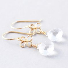 Topaz Dangle Earrings, Gemstone Clear Earrings