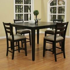 Incroyable Este Counter Height Dining Table Set In Black W 4 Salma Stools By American  Heritage.