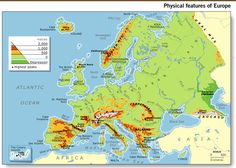 Blank Physical map of Europe | Geography and History Blog : 3º ...