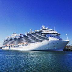 Regal Princess docked at rostock-warnemünde port Online Magazine, Princess Cruises, Cruise Ships, Opera House, Building, Travel, Design, Crosses, Shelf