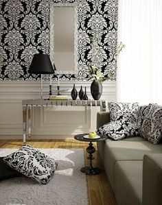 baroque style living room with black and white wallpaper
