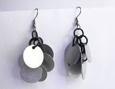 Belly dance earrings Silver and black Chainmaille Aluminum discs