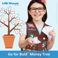 To practice their money skills, girls can leap on over to the Go for Bold money tree to get the pretend cash they'll need for playing Girl Scout Cookie Sale®.