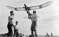 Flying fun: Members of a model aeroplane club at the Fairlop Aerodrome in Epping Forrest try to get their plane into the sky