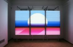 The Sunset  Light installation, 2008  200 x 360 cm, (78 x 142 inch)  Part of the T e l e p a t i a instalation in collaboration with Alona Rodeh
