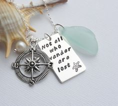 Scottish Sea Glass and Handstamped Sterling Silver Necklace - WANDER £38.50