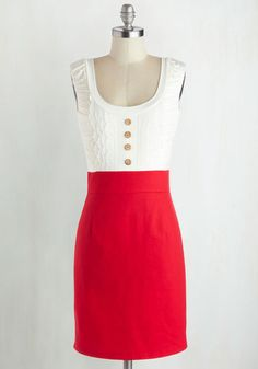 Come in Dandy Dress in Red. A super special lady in a completely sweet dress like this is good to keep close by, for without the vertically tiered lace and side ruching on the top of this twofer, what would your friends do when they need a pleasant point of view?  #modcloth