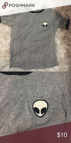 Brandy Melville shirt Adorable shirt with alien patch! Brandy Melville Tops Tees - Short Sleeve