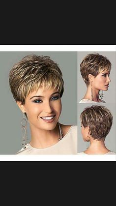 Chic style Synthetic wigs Short Straight hair Light Brown wigs with bangs Full Natural wigs Short Hair Older Women, Short Hairstyles For Thick Hair, Short Grey Hair, Haircuts For Fine Hair, Short Straight Hair, Short Hair With Layers, Cool Hairstyles, Short Hair Styles, Edgy Short Haircuts