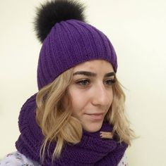 Excited to share the latest addition to my #etsy shop: Knitted hat and scarf Knitted hat and snood Knit hat womens Christmas knitted set Hand knitted hat and snood Purple snood-hat with pompon http://etsy.me/2F9cD9j