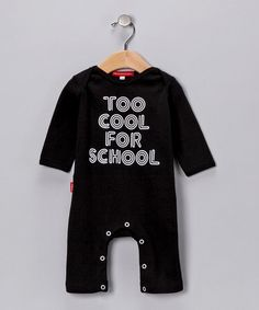 Take a look at this Black 'Too Cool for School' Playsuit - Infant by Oh Baby London on #zulily today!