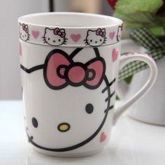 Amazon.com: Hello Kitty Ceramic Coffee Mug Water Tea Cup w/ Tray: Home & Kitchen