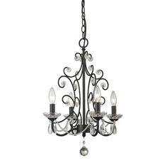 Princess Transitional Chandelier Beautifully cut clear crystals are paired with a gloss black finish in this 4 light mini chandelier. The unique chandelier will provide a touch of sparkle and elegance. Candle Chandelier, Black Chandelier, Chandelier Lighting, Unique Chandelier, Chandelier Bedroom, Pendant Lamps, Farmhouse Chandelier, Queen