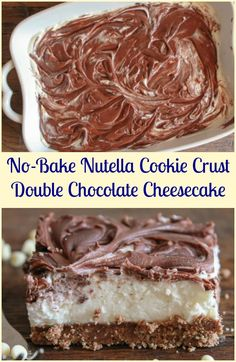 No-Bake Nutella Cookie Crust Double Chocolate Cheesecake, with a better than Oreo crust, the ultimate creamy chocolate cheesecake dessert. via @https://it.pinterest.com/Italianinkitchn/