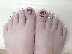 Holiday Candy Cane toe nails.
