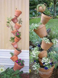 Terracotta pots creative stacking trellis idea