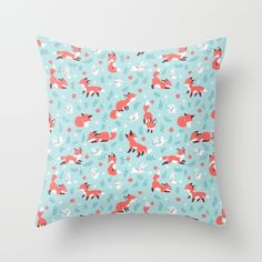 Fox and Bunny Pattern Throw Pillow by Freeminds | Society6 #pillow #homedecor #decorpillows