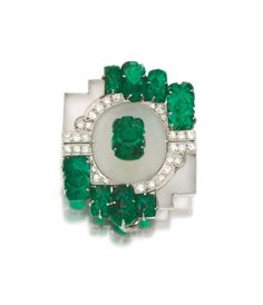 Rock crystal, emerald and diamond brooch, 1930s. | © 2014 Sotheby's
