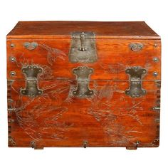Antique Korean Chest with Hand Carved Birds and Flowers