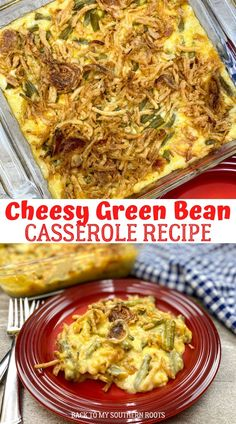 Cheesy green bean casserole is a rich and delicious side dish that is a great addition to any holiday table. It takes green bean casserole and knocks it up a notch for a creamy and unforgettable dish. Dinner Casserole Recipes, Greenbean Casserole Recipe, Cheesy Green Bean Casserole, Sweet Potato Casserole, Best Mashed Potatoes, Food Dishes, Food Food, Green Bean Recipes, Vegetable Side Dishes