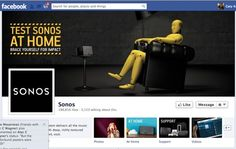 Sonos' Facebook Page is so sleek and snazzy, and they've got their support tile front and center!